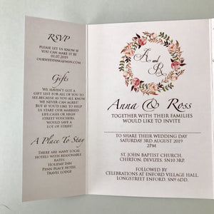 Floral Blush Gate Fold and Belly Band Wedding Invites