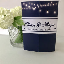 Load image into Gallery viewer, Classic Navy Gate Fold and Belly Band Wedding Invites