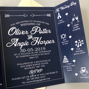 Classic Navy Gate Fold and Belly Band Wedding Invites