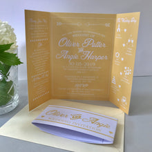 Load image into Gallery viewer, Yellow Gate Fold and Belly Band Wedding Invites