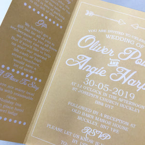 Yellow Gate Fold and Belly Band Wedding Invites