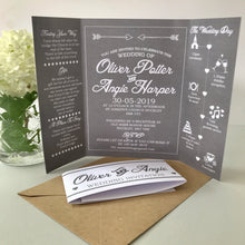 Load image into Gallery viewer, Classic Grey Gate Fold and Belly Band Wedding Invites