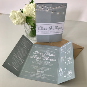 Classic Grey Gate Fold and Belly Band Wedding Invites