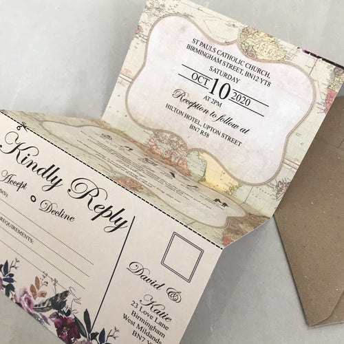 Vintage Map Concertina Wedding Invites