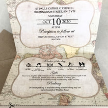 Load image into Gallery viewer, Vintage Map Concertina Wedding Invites