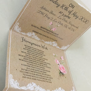 Romance Lace and Rose Kraft Concertina Wedding Invites