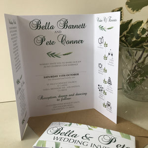 Green Botanical Gate Fold and Belly Band Wedding Invites