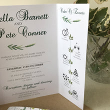 Load image into Gallery viewer, Green Botanical Gate Fold and Belly Band Wedding Invites