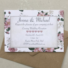 Load image into Gallery viewer, Blush Pink Vintage Rose Wedding Invite Day or Evening