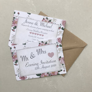 Blush Pink Vintage Rose Wedding Invite Day or Evening
