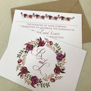 Red Rose Wreath Wedding Invite Day or Evening