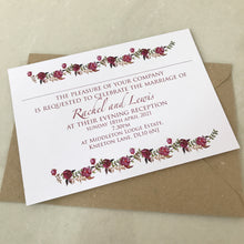 Load image into Gallery viewer, Red Rose Wreath Wedding Invite Day or Evening