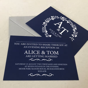 Classic Navy Wedding Invite Day or Evening