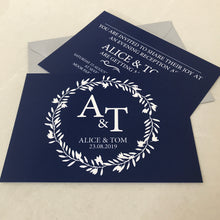 Load image into Gallery viewer, Classic Navy Wedding Invite Day or Evening