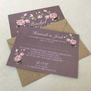 Dusky Pink Rose Wedding Invite Day or Evening