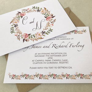 Floral Blush Garland Wedding Invite
