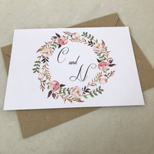 Load image into Gallery viewer, Floral Blush Garland Wedding Invite