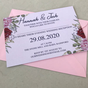 Navy and Rose Wedding Invite Day or Evening