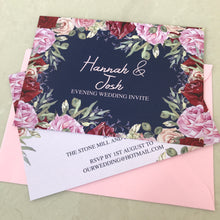 Load image into Gallery viewer, Navy and Rose Wedding Invite Day or Evening