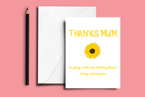 THANKS MUM' Mother's Day Folded Card