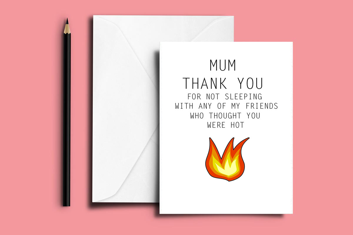 'HOT MUM' Thank You Folded Card
