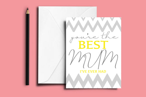 'BEST MUM' Mother's Day Folded Card