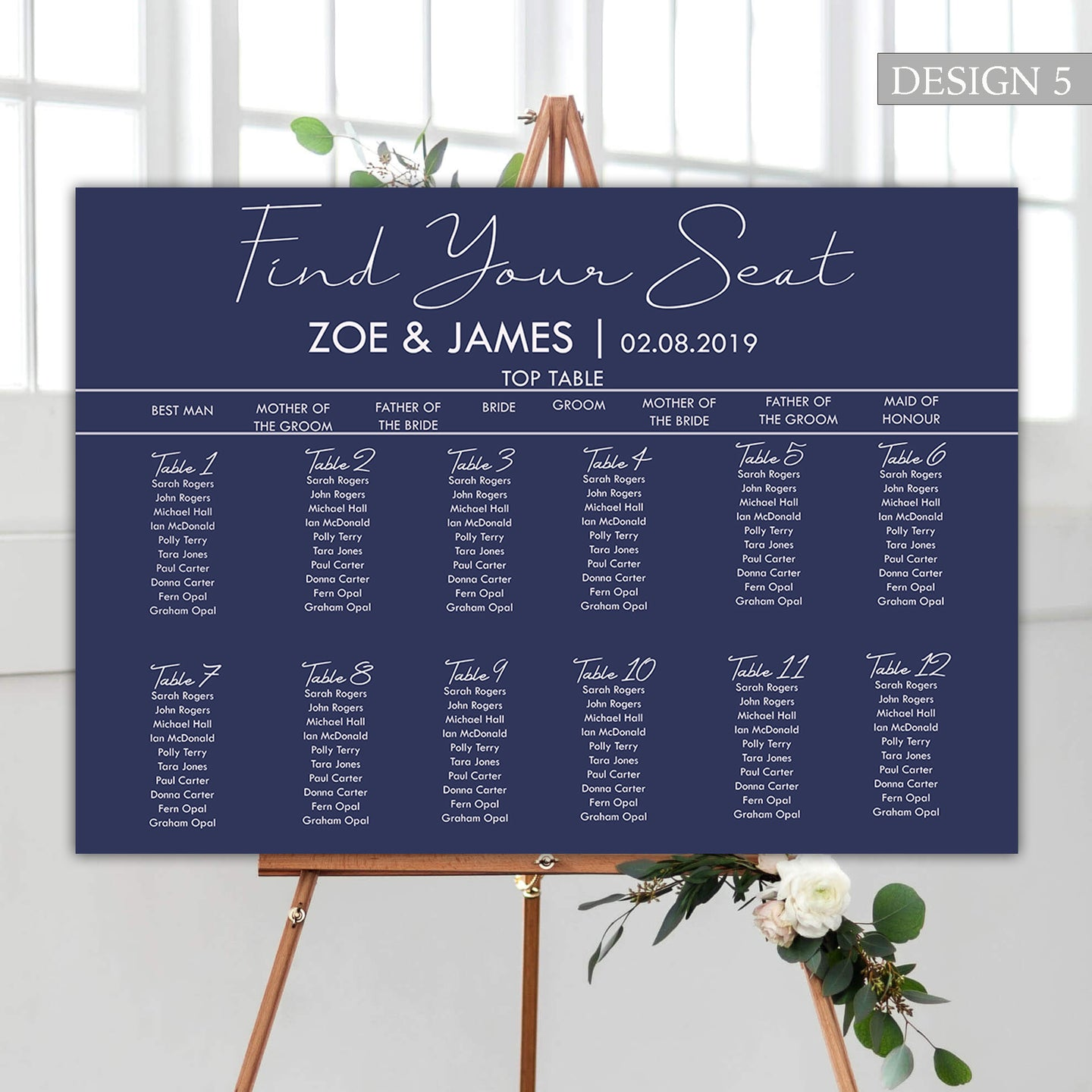 Classic Navy Wedding Seating Plan