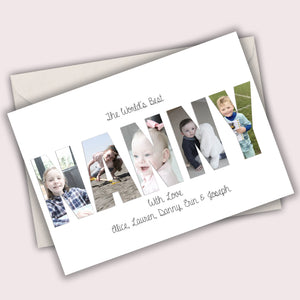 Mother's Day Personalised Folded Photo Word Card Any Word Made Of Your Photos