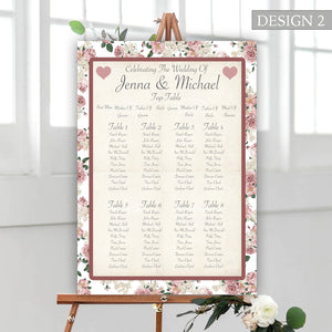 Vintage Rose Wedding Seating Plan