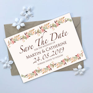 Floral Blush Save The Date Cards