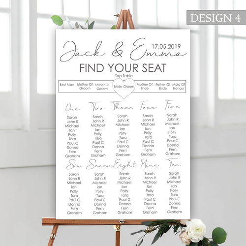 Simply White Wedding Seating Plan