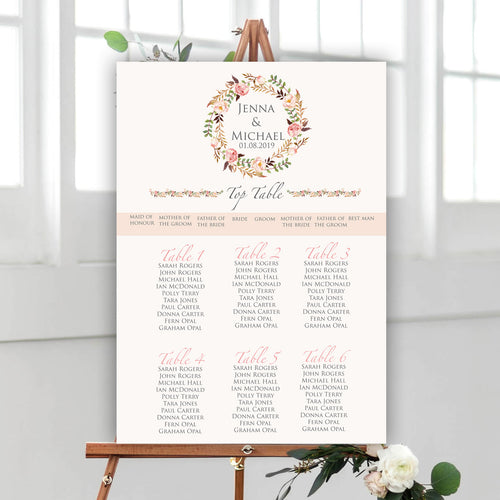 Floral Blush Wedding Seating Plan