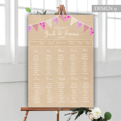 Bunting Wedding Seating Plan