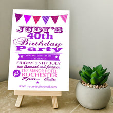 Load image into Gallery viewer, Bunting Any Age Party Invite