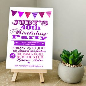 Bunting Any Age Party Invite
