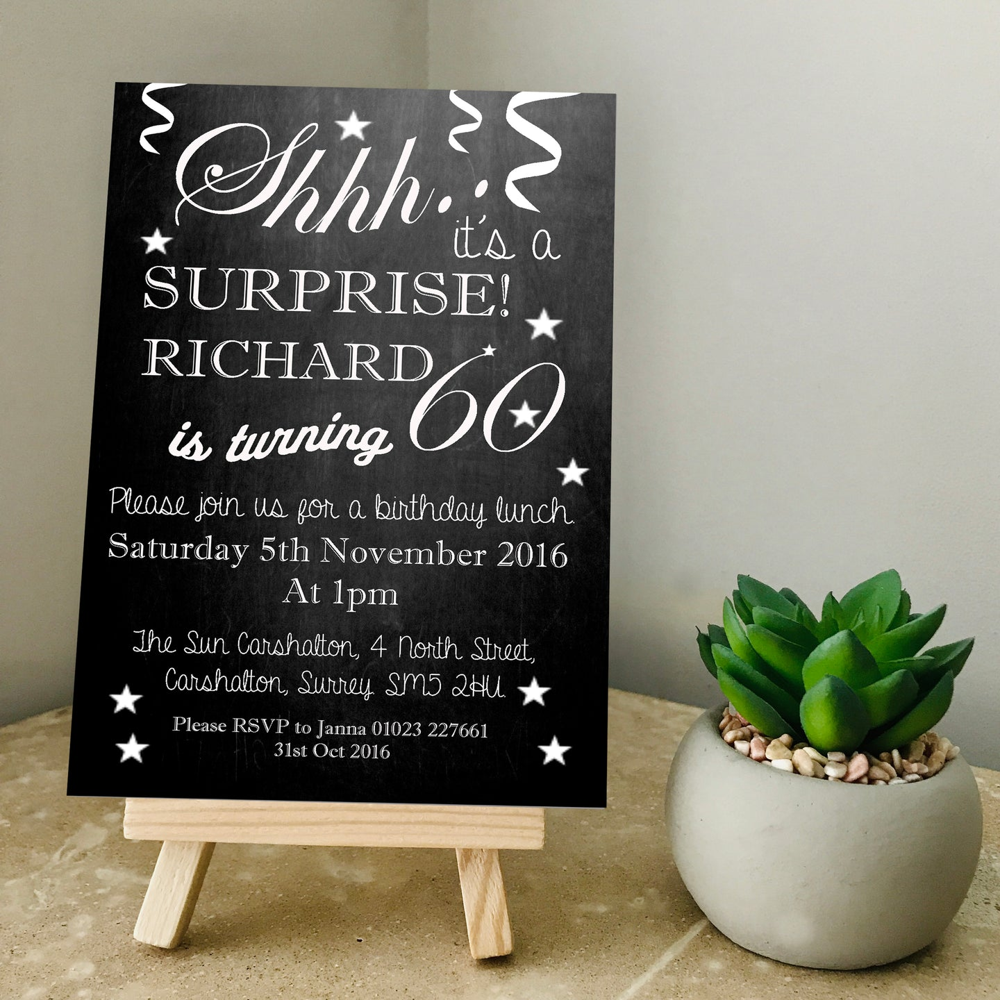 Chalkboard Any Age Party Invite