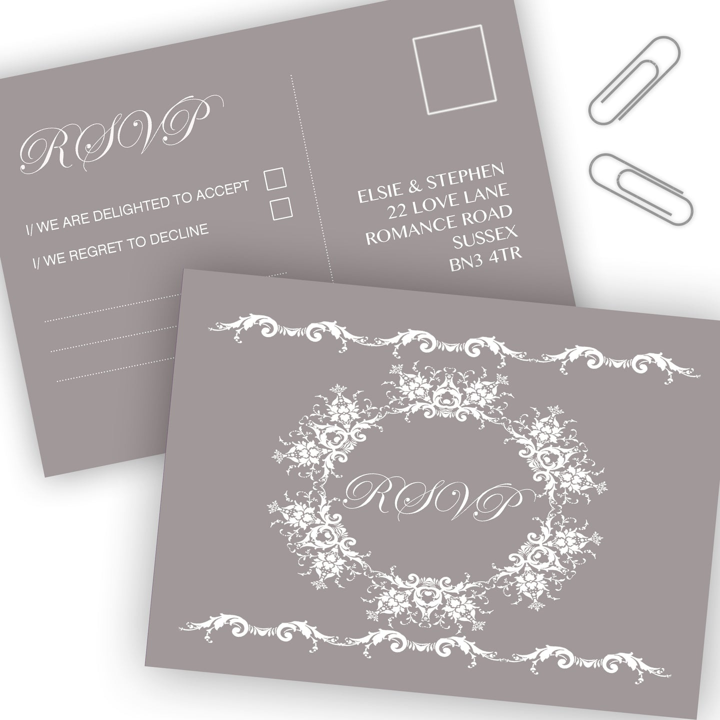 Simply Classic Wedding RSVP Cards - CLCDesigns