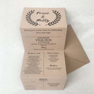 Kraft Recycled Concertina Invitation Invites Personalised Invitations Wedding Invites