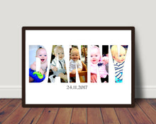 Load image into Gallery viewer, New Baby Name or Word In Photos Print