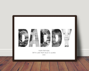 New Baby Name or Word In Photos Print