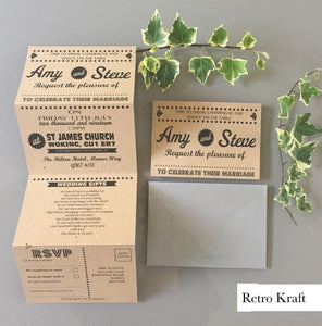 Retro Kraft Concertina Wedding Invites - CLCDesigns