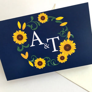 Navy and Sunflower Concertina Wedding Invites