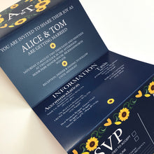Load image into Gallery viewer, Navy and Sunflower Concertina Wedding Invites