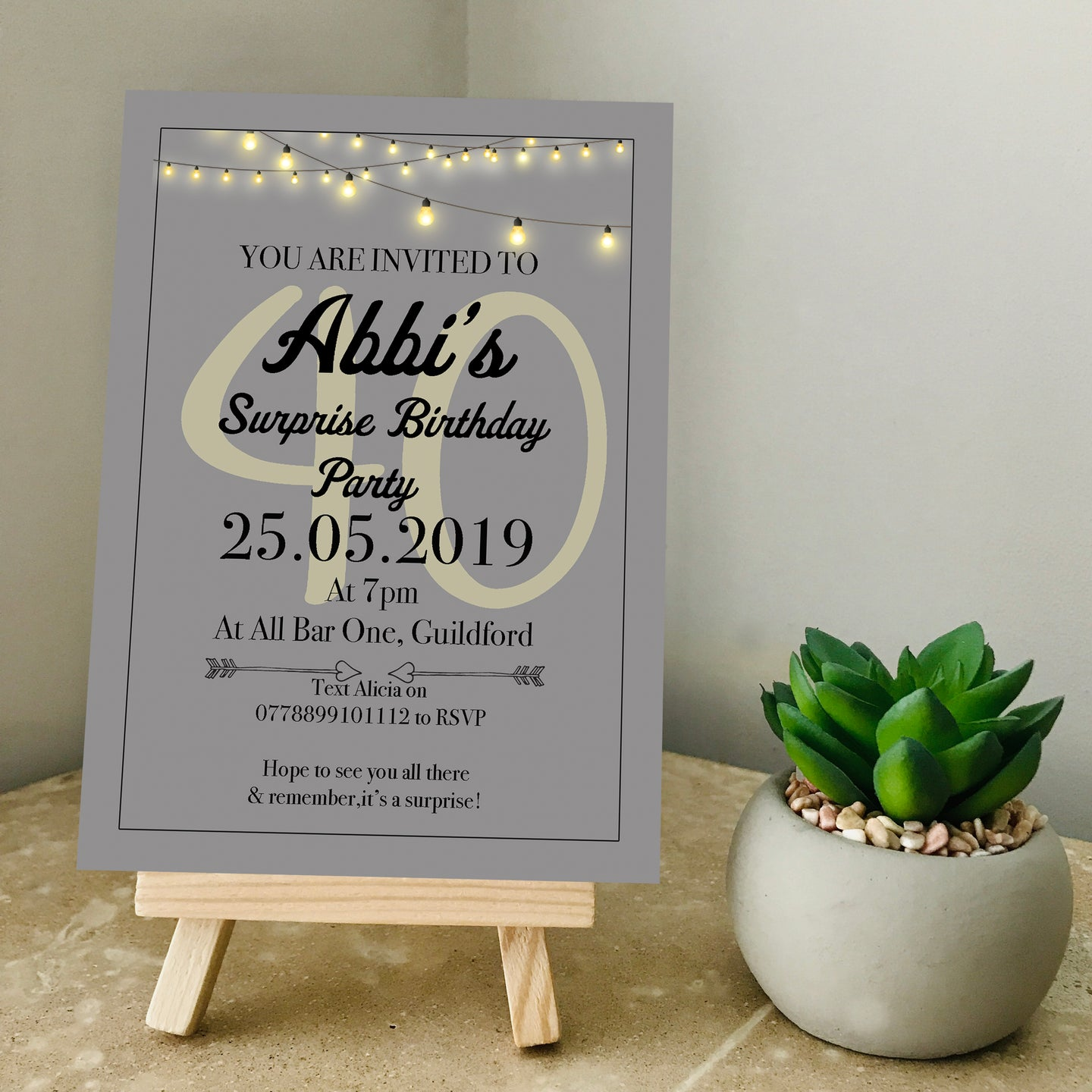 Classic Grey Any Age Party Invite