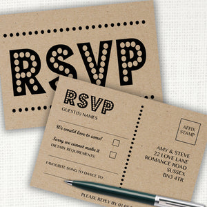 Retro Kraft Wedding RSVP Cards - CLCDesigns