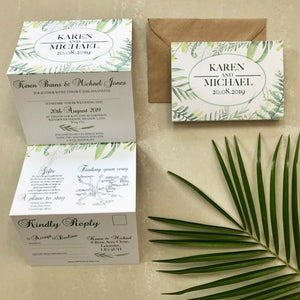Botanical Concertina Wedding Invites - CLCDesigns