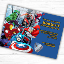 Load image into Gallery viewer, The Avengers Children's Birthday Party Invite - CLCDesigns