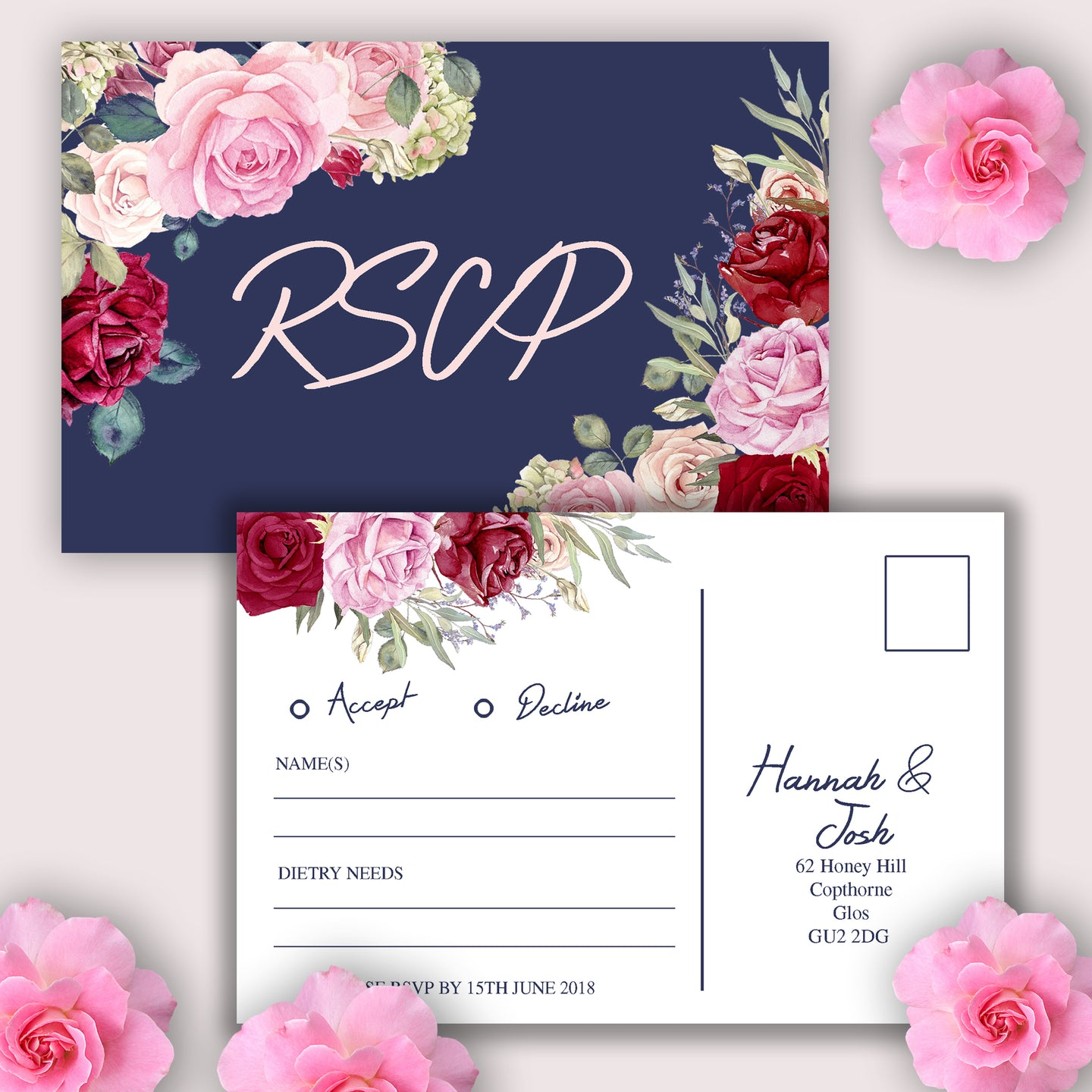 Vintage Floral Wedding RSVP Cards - CLCDesigns