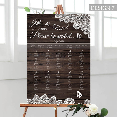 Rustic Wood Wedding Seating Plan
