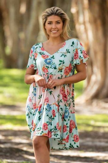 Pink/blue floral rayon tiered dress with v neck, and short ruffled sleeves